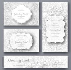 Set of wedding card flyer pages ornament illustration concept. Vintage art Stock Illustration