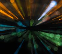 Abstract zoom blur city bokeh lights background Stock Photos