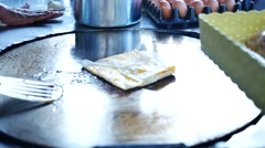 Asian one man doing roti for sale Stock Footage