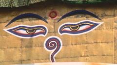Lord Buddha's eyes on Swayambunath Stupa in Kathmandu, Nepal - stock footage