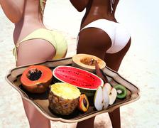 Tropcal fruits and sexy women Stock Illustration