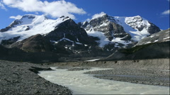 Mount Andromeda and Mount Athabasca in the Columbia Icefield, Canada Stock Footage