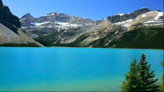 Bow Lake and Rocky Mountains, Canada - stock footage