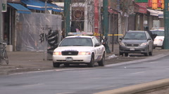 Double murder homicide scene in Toronto Chinatown district Stock Footage