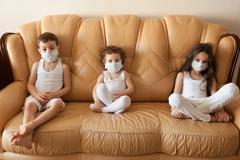 Kids epidemic flu medicine children medical mask Stock Photos