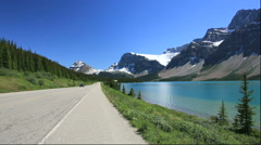 Icefields Parkway besides Bow Lake and Rocky Mountains, Canada Stock Footage