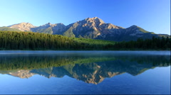 Morning scene of Patricia Lake and Pyramid Mountain, Canada Stock Footage