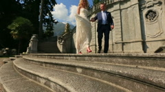 Walking of Just Married Italia Como Stock Footage