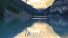 Canoes at Lake Louise, Canada - stock footage