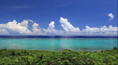 Seascape from Cape Tamatori observatory in Okinawa Prefecture, Japan Stock Footage