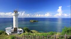 Hirakubozaki and Hirakubozaki lighthouse on Ishigakijima Island in Okinawa Stock Footage