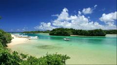 Kabira Bay on Ishigakijima Island in Okinawa Prefecture Stock Footage