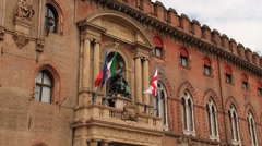 Exterior of the cityhall (Palazzo Communale) in Bologna, Italy. - stock footage