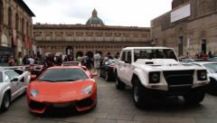 People visit exposition of Lamborghini cars at the square in Bologna, Italy. - stock footage