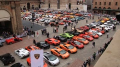 View to the square with Lamborghini cars parked in Bologna, Italy. - stock footage