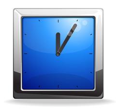 Square blue clock vector illustration - stock illustration
