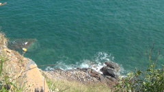Blue sea with waves. wild nature. beautiful landscape. waves rolled on the rocks Stock Footage