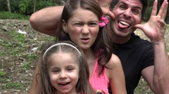 Divorced Father And Daughters Acting Silly Stock Footage