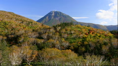 Autumn leaves at Shiretoko Pass and Mount Rausu, Hokkaido, Japan Stock Footage