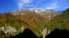 Autumn leaves and Mt Tateyama from Kurobe Dam in Toyama Prefecture Stock Footage