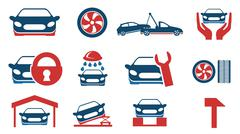Car service maintenance icon set - stock illustration