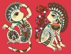 line art drawing of two ethnic monkey in decorative ukrainian st - stock illustration