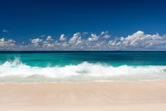 Seascape, Tropical Beach with White Sand, Azure Water - stock photo