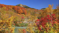 Autumn view of Sukayu hot spring and Hakkoda Mountain, Aomori Prefecture, Japan Stock Footage