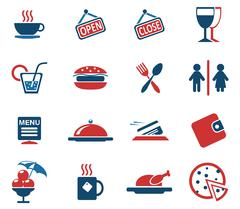 Stock Illustration of Cafe Silhouette Icons