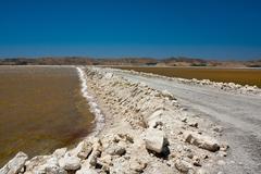 Salt evaporation ponds (salterns) Stock Photos