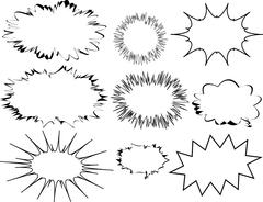 Set of Blank Speech Bubbles Explosion Shapes - stock illustration