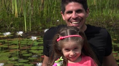 Divorced Father And Daughter At Pond Stock Footage