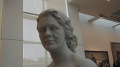 Sculpture of a woman in an art museum Stock Footage