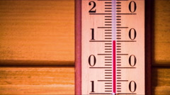 Temperature increases on a thermometer Stock Footage