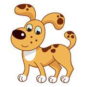 Stock Illustration of Cartoon smiling light ginger spotty puppy, cute naughty dog