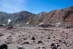 Volcanic Desert - Whakarri or White Island in the Bay of Plenty, New Zealand. Stock Photos