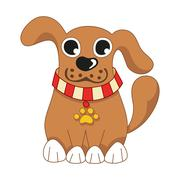 Cartoon puppy, vector illustration of cute dog wearing a red collar Stock Illustration