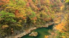 Dakigaeri Valley in autumn, Akita Prefecture, Japan Stock Footage