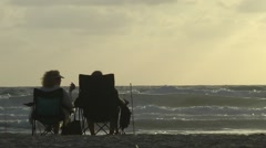 View of the sunset from the beach in Tel Aviv Stock Footage