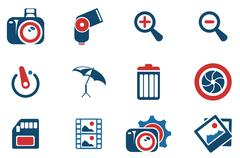 Photography Silhouette Icons - stock illustration