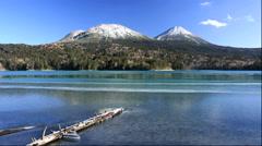 Stock Video Footage of Frozen Lake Onneto, Mount Meakan and Mt. Akan-Fuji, Hokkaido, Japan