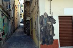 ORGOSOLO ITALY 4 October 2015 Murales in Orgosolo Italy Since about 1969 the  - stock photo