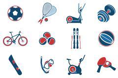 Sport equipment symbols Stock Illustration