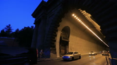 Night tunel light the car Stock Footage