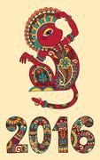 decorative ape and inscription - 2016 Year of The Monkey - stock illustration