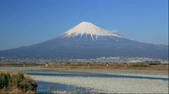 Mount Fuji and the Tokaido Shinkansen in Shizuoka Prefecture Stock Footage