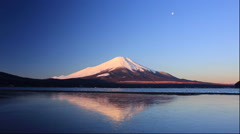 Sunrise and Mt Fuji and Lake Yamanaka in Yamanashi Prefecture Stock Footage