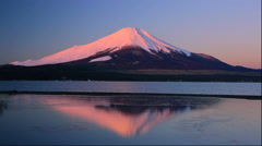 Sunrise and Mt Fuji and Lake Yamanaka in Yamanashi Prefecture Stock Footage