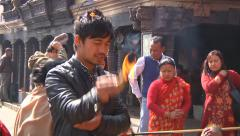 Pilgrims in Monkey Temple, Nepal Stock Footage