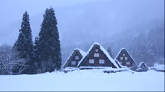 View of the snow covered Shirakawa Village, Gifu Prefecture, Japan Stock Footage